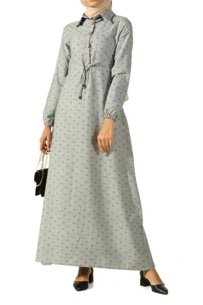 Desenli Bel Büzgülü Düğmeli Elbise