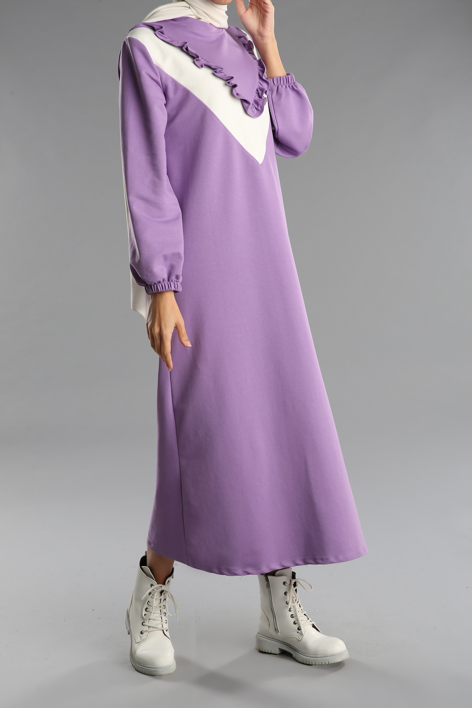 Desenli Kolları Büzgülü Elbise Tunik