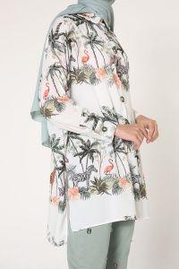 Desenli Yırtmaçlı Gömlek