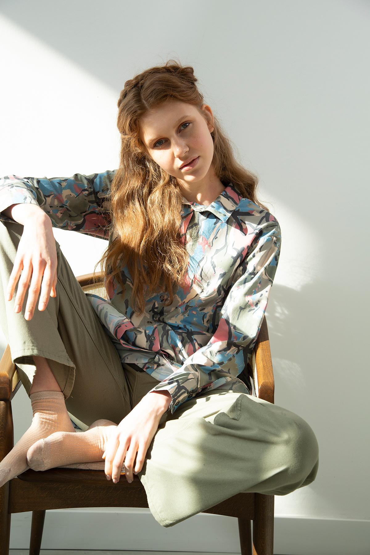 Pocket Patterned Shirt Tunic