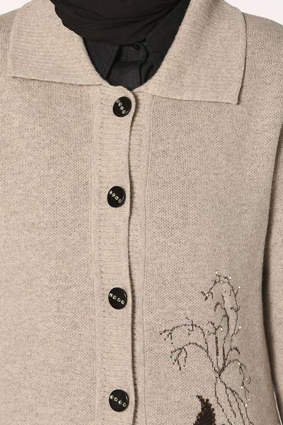 Desenli Cepli Düğmeli Taşlı Hırka