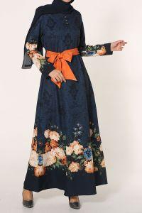 Desenli Kemerli Elbise
