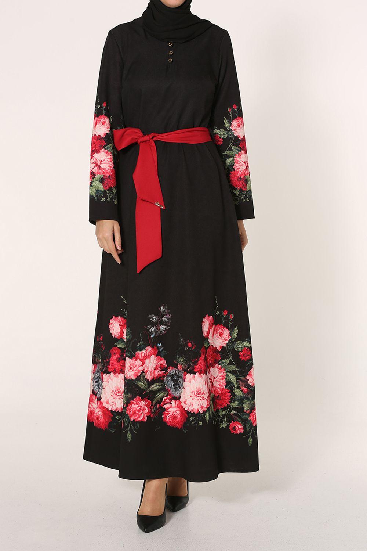 GÜZEY Desenli Kemerli Elbise