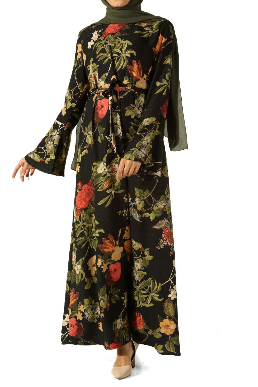 Floral Pattern Belted Dress