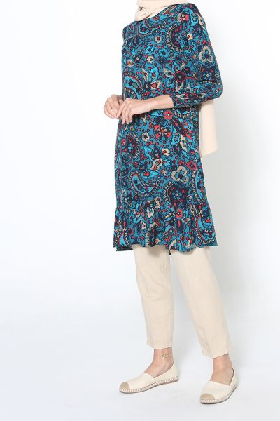 Desenli Eteği Fırfırlı Tunik