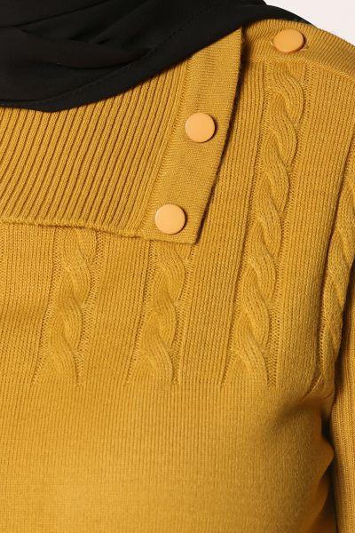Desenli Düğmeli Cepli Tunik
