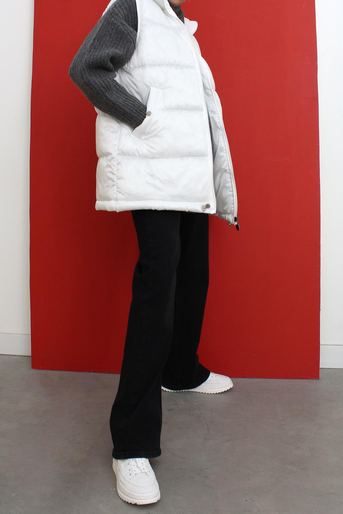 Stand-away Collar Zipper Front Puffer Vest