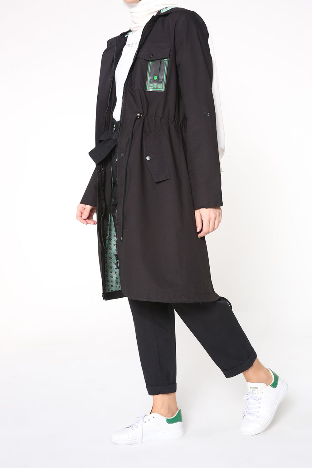 NATURAL FABRIC LINED TRENCH COAT