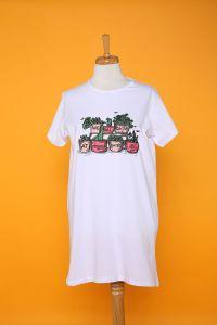 Doğal Kumaş Çiçek Baskılı T-shirt