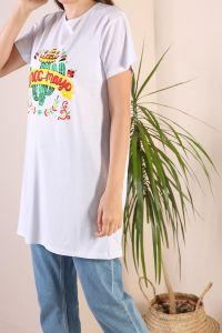 NATURAL FABRIC PRINTED T-SHIRT
