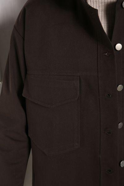 Doğal Kumaş Düğmeli Ceket