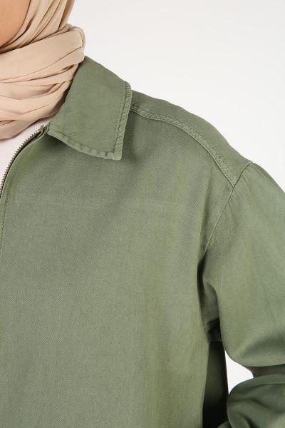 Doğal Kumaş Fermuarlı Cepli Ceket