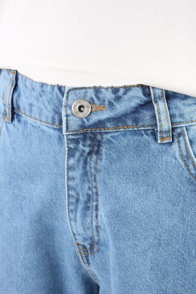 Doğal Kumaş Bol Paça Denim Pantolon