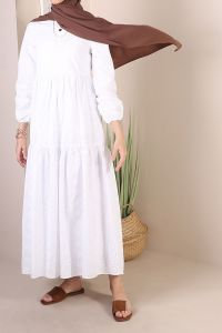 NATURAL FABRIC PATTERNED DRESS