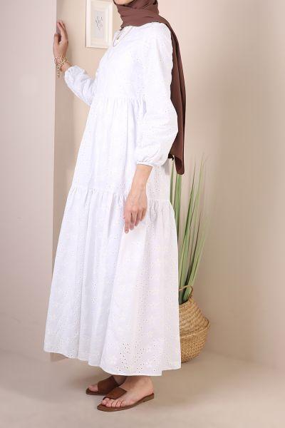 Doğal Kumaş Astarlı Desenli Elbise