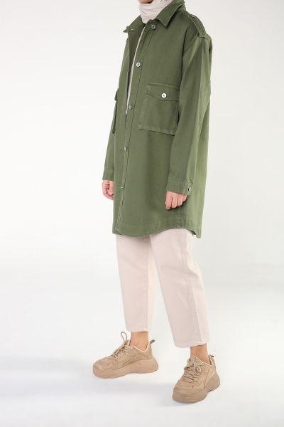 Doğal Kumaş Düğmeli Cepli Ceket