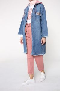 NATURAL FABRIC HIJAB DENIM JACKET