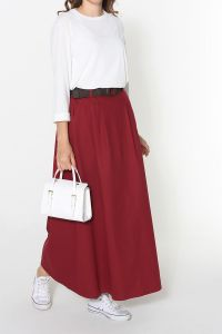 NATURAL FABRIC BELTED SKIRT