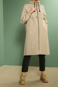 NATURAL FABRIC ZIPPERED HOODED TRENCH COAT