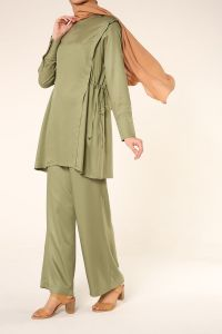 NATURAL FABRIC HIJAB SUIT WITH PANTS
