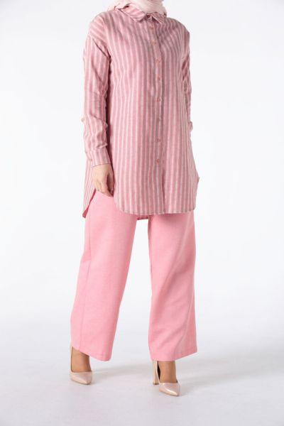 Doğal Kumaş Pantolonlu Takım