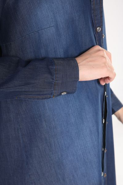 Button Denim Shirt Tunic