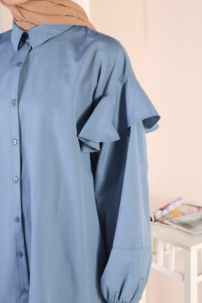 Doğal Kumaş Volanlı Gömlek