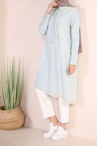NATURAL FABRIC DENIM TUNIC