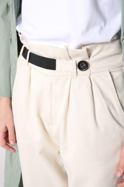 Doğal Kumaş Yüksek Bel Lastikli Pantolon