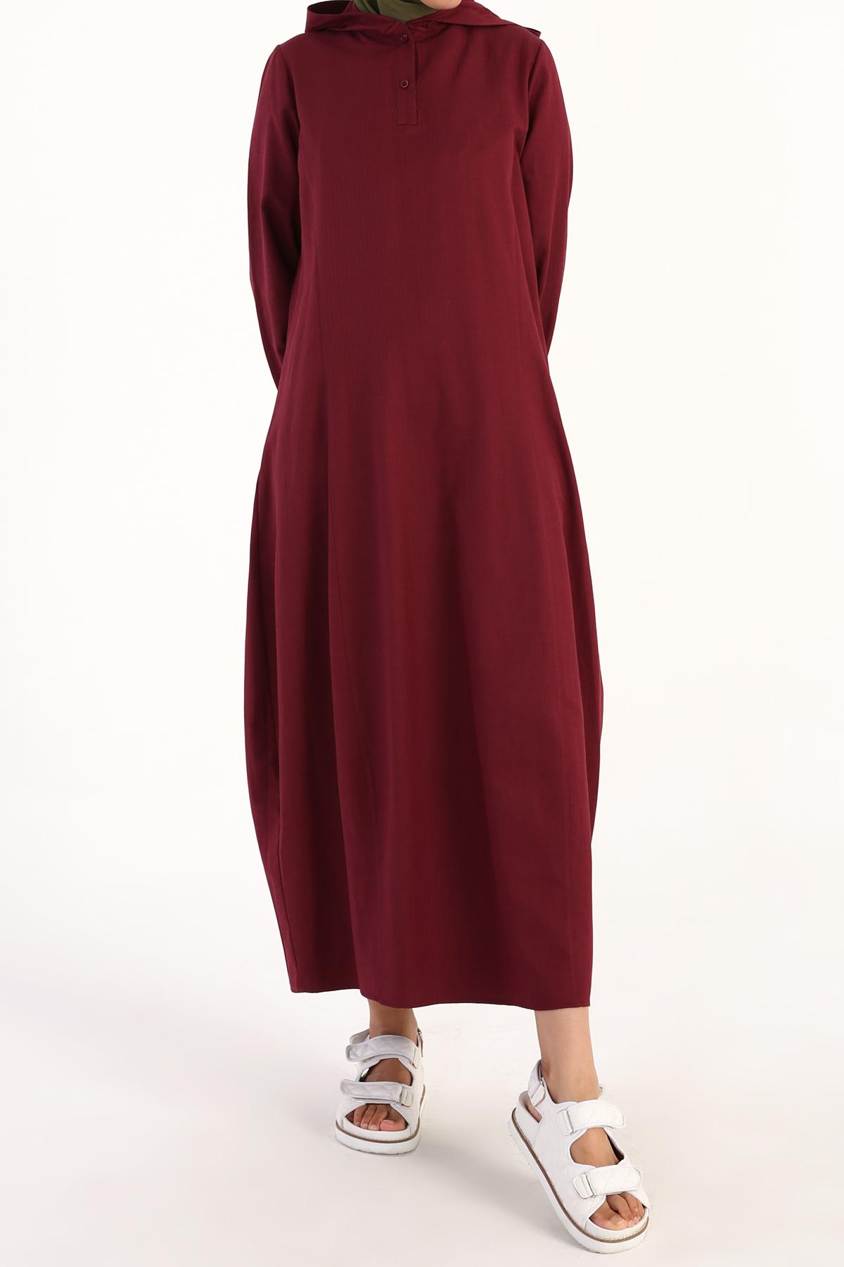 Dökümlü Kapüşonlu Pamuklu Elbise