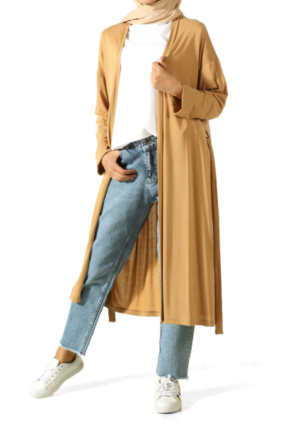 DOUBLE SLEEVE COMBED COTTON CARDIGAN