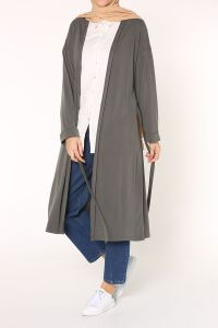 Double Sleeve Belted Combed Cotton Cardigan