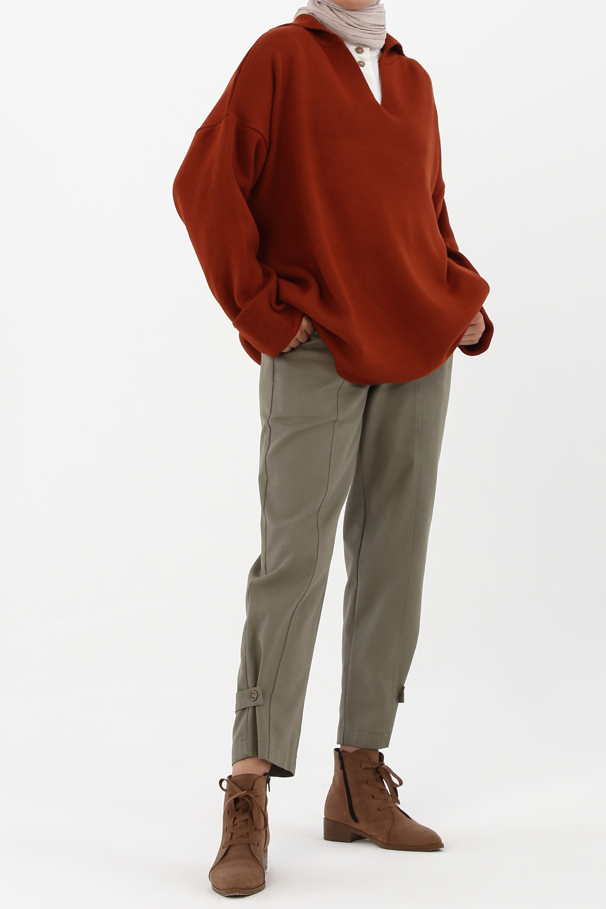 Roll Up Sleeve Knit Sweater