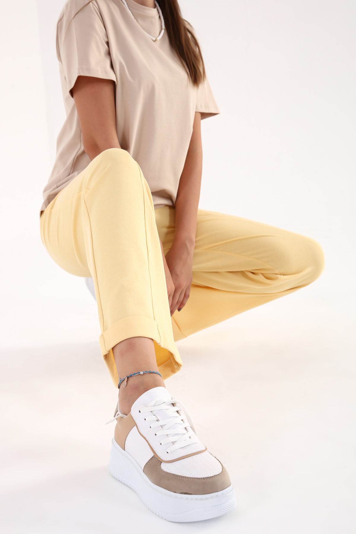 Roll Up Hem Elastic Waist Cotton Sweatpants