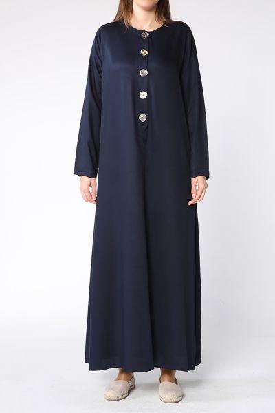 Düğme Detaylı Doğal Kumaş Kloş Elbise