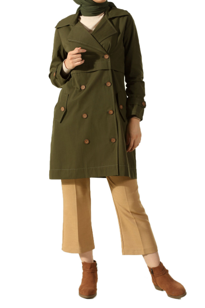 Buttoned Pocket Trench Coat