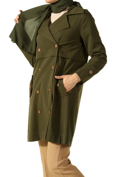BUTTON TRENCH COAT WITH POCKET