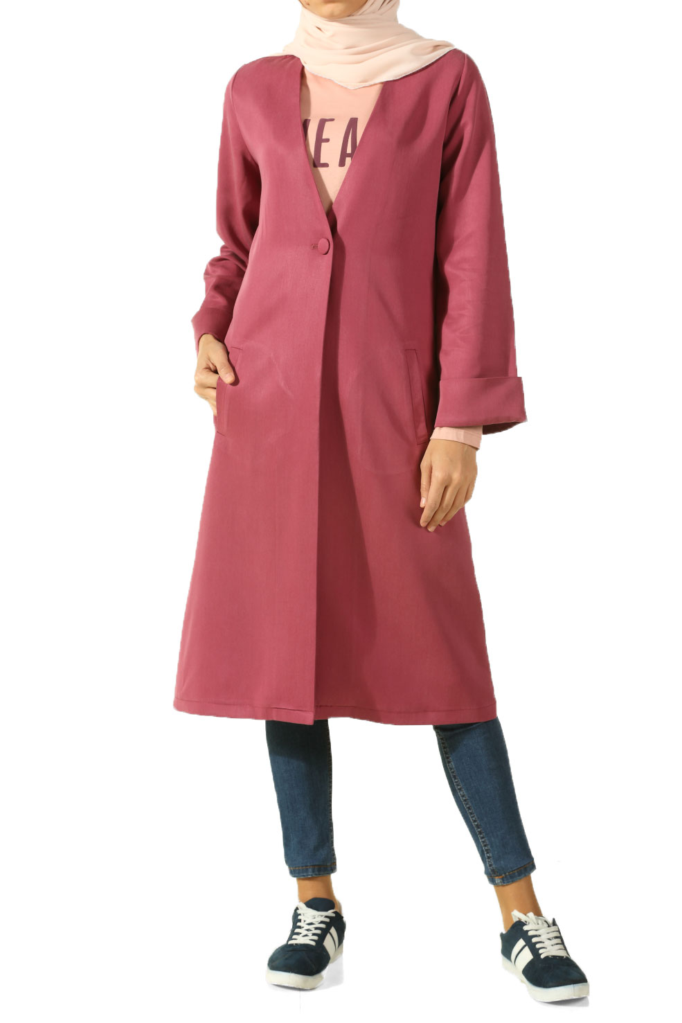 Light Rose DOUBLE SLEEVE JACKET WITH BUTTON - 4036STFN