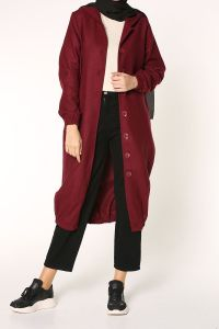 HOODED BUTTONED OVERCOAT
