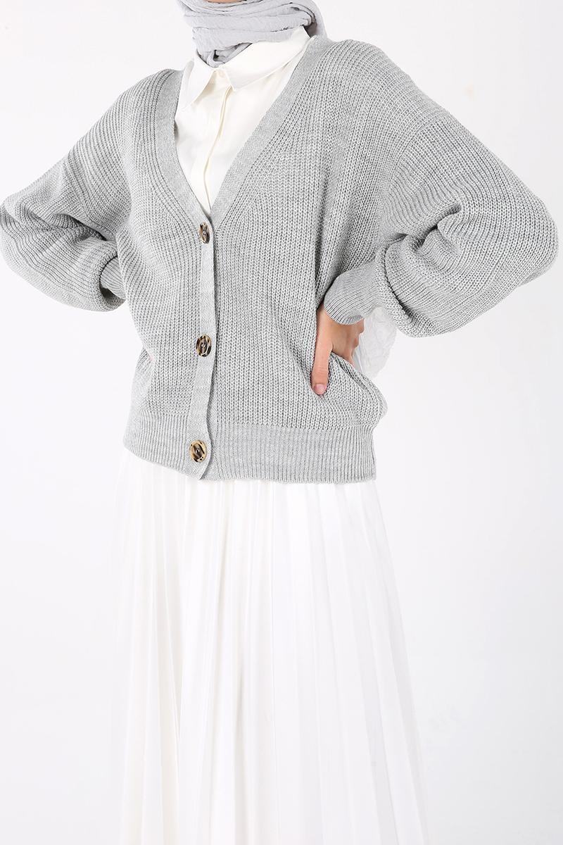 Buttoned Short Cardigan
