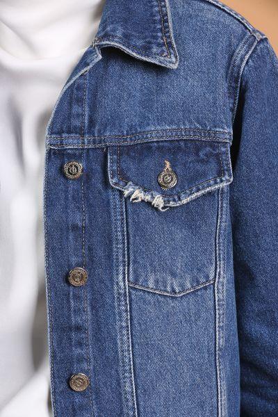 One More Düğmeli Cepli Kot Ceket