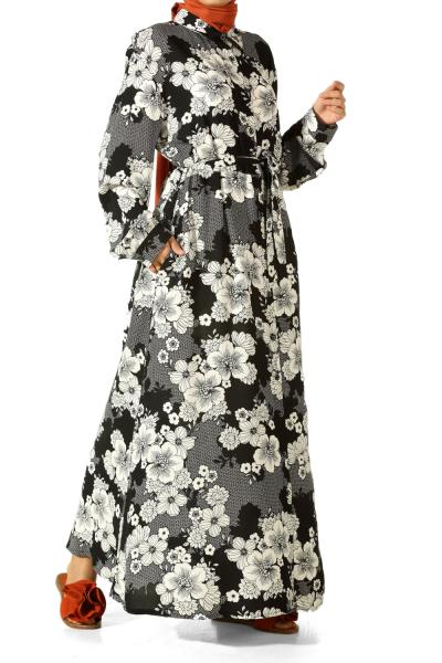 Düğmeli Kuşaklı Büyük Beden Elbise