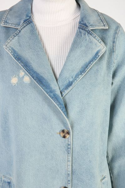 Düğmeli Salaş Kot Ceket