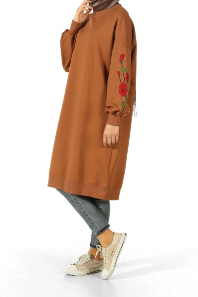 DROP SLEEVE EMBROIDERED COMBED COTTON TUNIC