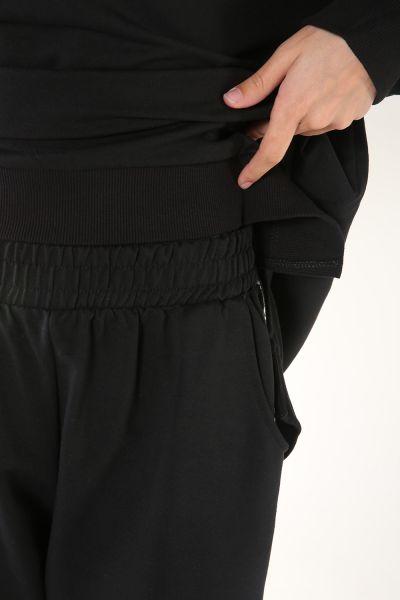Yanları Şeritli Düşük Kol Pantolonlu İkili Takım