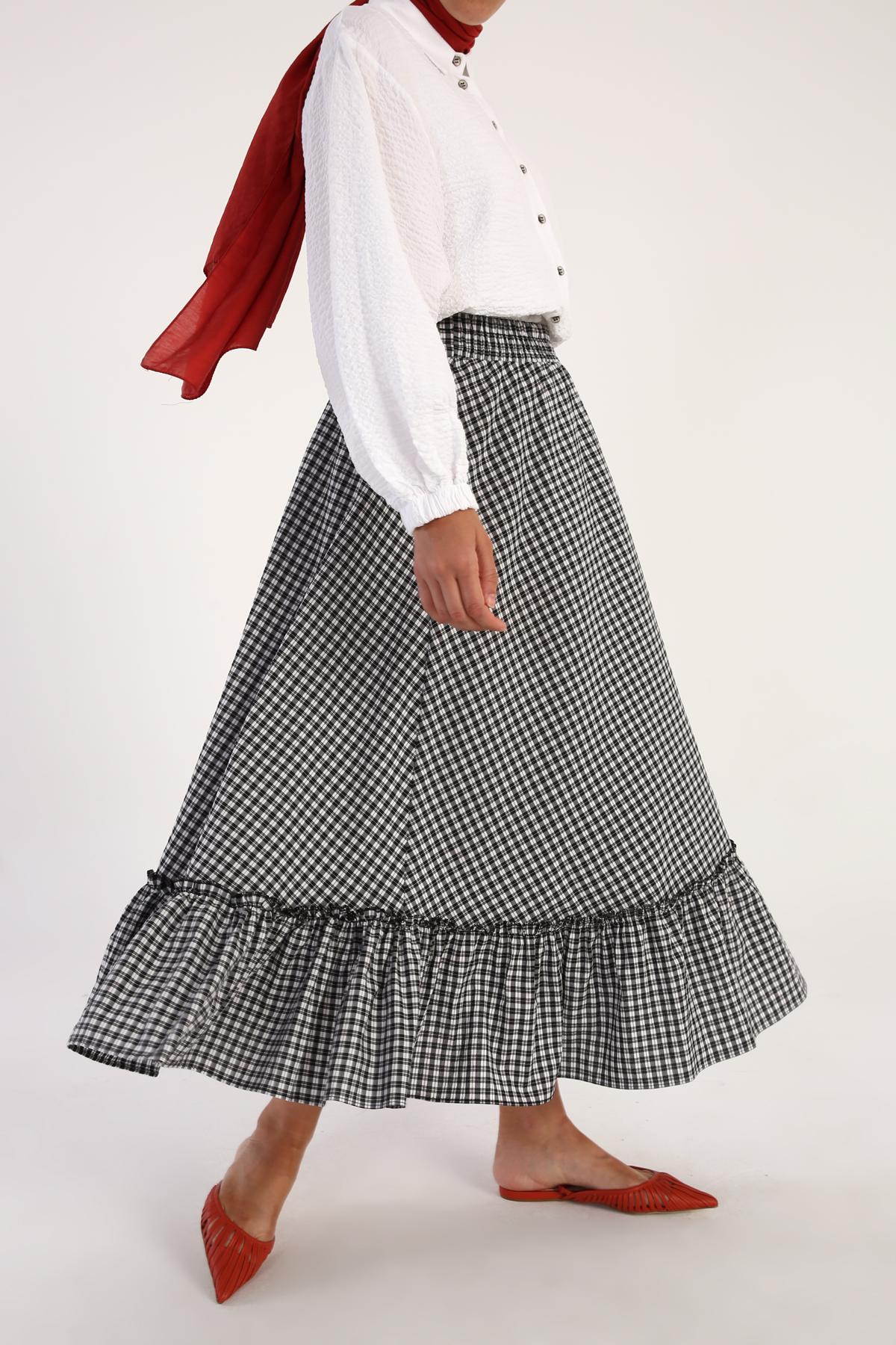 Plaid Ruffle Hem Skirt