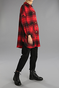 Plaid Patterned Buttoned Pocket Shirt Tunic