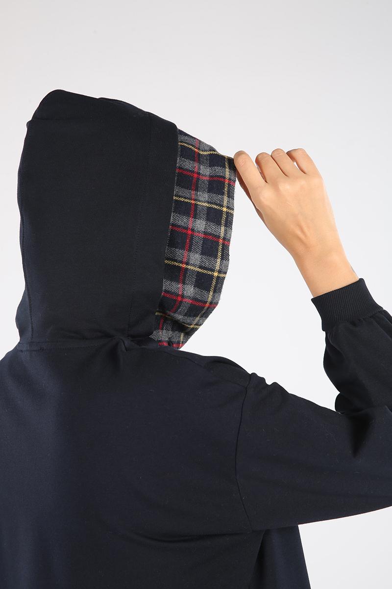 Ekose Garnili Düğmeli Kapüşonlu Sweat Tunik