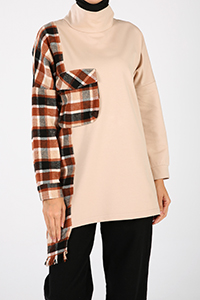 Plaid Pocket Sweatshirt Tunic