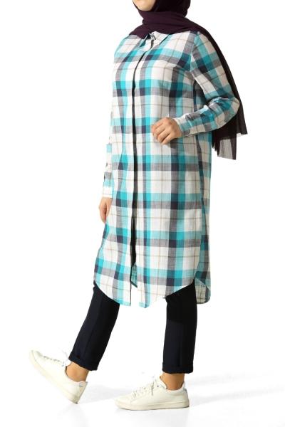 Hidden Button Plaid Shirt Tunic